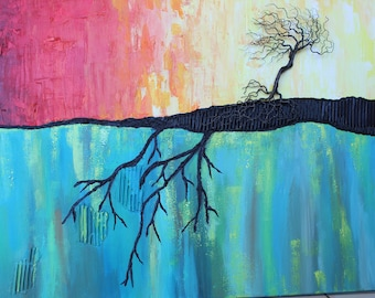 Acrylic painting, mixed media, Autumn tree, Drahtbaum