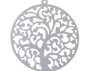 Pendant filigree round / 43mm stainless steel tree
