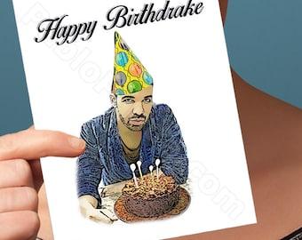 Funny Birthday Card | Drake Card | Greeting Cards Handmade Cards Funny Cards Funny Anniversary Card For Her Him Men Him Boyfriend Girlfriend