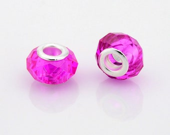 2 beads European faceted Fuchsia brass 14 x 10 mm beads with large hole 5 mm, for Bracelets European snake, leather, stiff