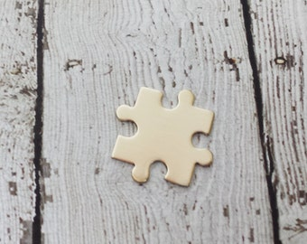 20 Gauge NuGold Puzzle Blank - Interlocking Puzzle Piece - Puzzle Stamping Blank