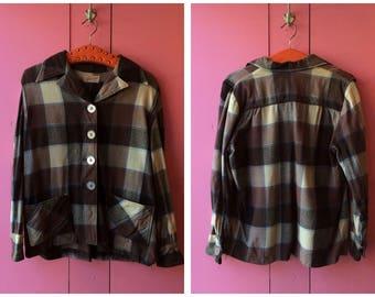 """Vintage 1940s/1950s Brown Plaid """"Kasual Koat"""" Wool Jacket"""
