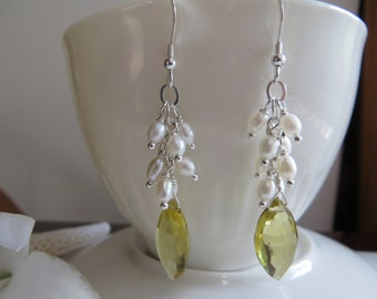 Lemon Quartz Earrings, Pearl Earrings, Briolette Earrings, Drop Earrings, Quartz Earrings, Sterling Silver earrings, Faceted Yellow Earrings