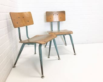 Set Of 2 Mid Century Child Chairs, Eames Era Bentwood, Metal Student Desk  Chair