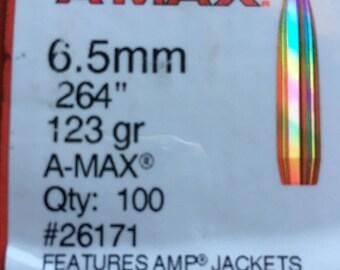 Hornady 6.5mm/.264 A-Max 123gr Bullets Qty.100