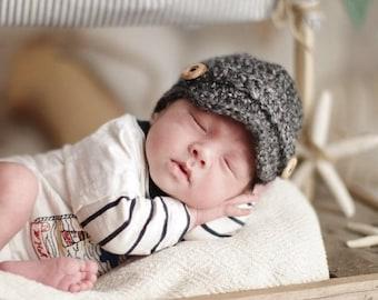 Baby Boy Newsboy Hat, Crochet Newborn Hat, Infant Boy Hat, Baby Boy Beanie, Newborn Boy Hat, Grey Baby Hat, Baby Shower Gift, Newborn Boy