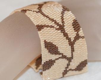 Chocolate Vine ... Bracelet Cuff . Peyote . Nature Inspired . Leaves . Feminine . Neutral Colors . Creamy Beige . Brown
