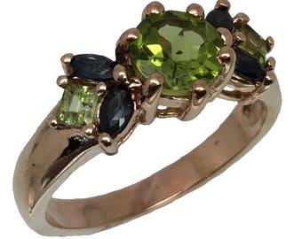 14k Peridot & Sapphire  Ring, FREE SIZING