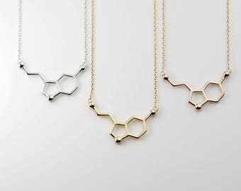 Personalized Serotonin Molecule Necklace Science Jewelry Back to School First Day Gift science gift - MSN
