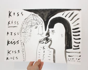 Original Painting | LOVERS KISS KISS | Gouache on paper