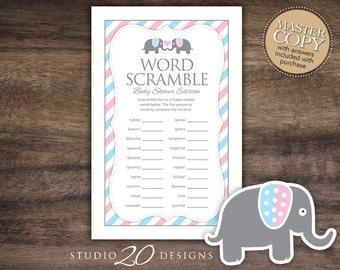 Instant Download Gender Reveal Elephant Word Scramble Baby Shower Game, Printable Blue Pink Elephant Word Scramble for Boy or Girl 22J