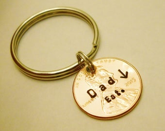 Dad Gift: Dad Established In, Dad Birthday Gift From Kids, New Dad Est 2018 Keychain, Fathers Day, Daddy Key Chain, Stamped Penny 1959- 2018