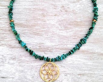 Turquoise Seed of Life Tassel Necklace, Sacred Geometry Jewelry, Boho Necklace, Bohemian Jewelry, Creation Necklace