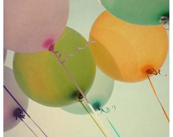 Balloon Photograph - Summer Photography - Fine Art Photography - Jubilation -  Original Art - Color - Orange - Pink - Fun - Oversized Art
