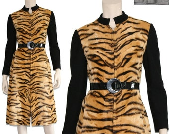 Adele Simpson dress // tiger print dress // fur dress // mod sweater dress // designer go-go dress