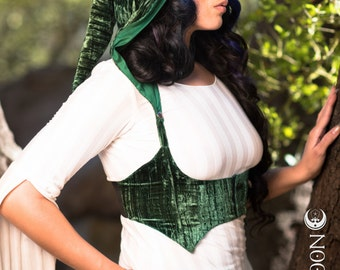 SALE! The Crushed Velvet Underbust Vest/Harness w/DETACHABLE Pixie Hood in Emerald Green by Opal Moon Designs (Size M-XL)