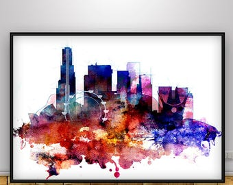 Los Angeles Skyline print, LA watercolor poster, Home decor, Travel wall art, California city art, Gift for Home, Los Angeles City