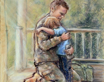 """Military Homecoming -'I've Missed you""""- ORIGINAL pastel painting Father Pastel 14x18"""" Laurie Shanholtzer Family art,"""