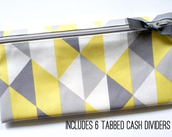 Yellow and gray matte laminated cotton cash or coupon organizer