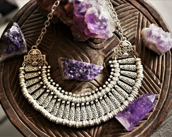 Ethnic Necklace - Vintage Inspiration - Bohemian Necklace - Silver Plated - Boho Jewelry - Tribal Chunky Necklace - Breastplate Necklace