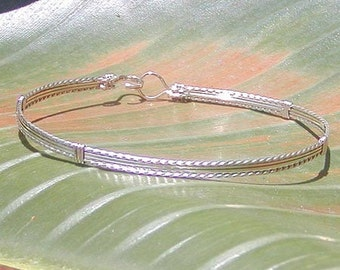 Silver Bracelet - Sterling Silver Wire Wrapped Bracelet - Simple Silver Bangle - Stackable Bracelet - Wirewrapped Bracelet - Gifts For Women