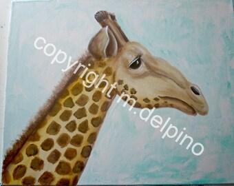 Personalized Zoo or Jungle Safari Nursery Giraffe original painting, blue brown canvas wild zoo animal theme nursery cute kid art