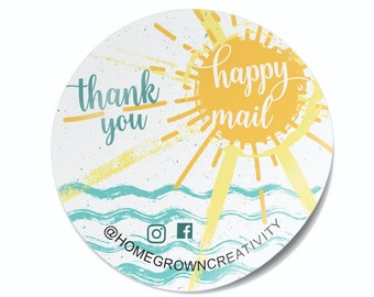 Happy Mail Sunshine Thank You Stickers Ocean Water Sea - Labels  - Thank You Stickers - Branding DS0110