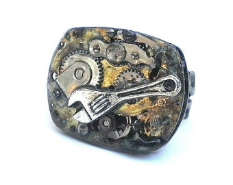 SALE, Heavy Steampunk  Ring, Steamy Stocking Stuffer