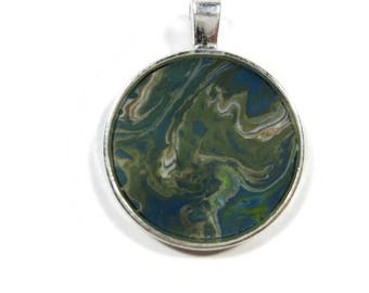 One Of A Kind Acrylic Pour Pendant Necklace