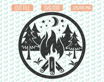 Camping SVG, DXF, EPS, png Files for Cutting Machines Cameo or Cricut - Camping Svg, bonfire Svg