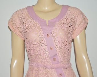 Vintage 50's Atomic Rockabilly Pink Lace Wiggle Dress Rhinestone Buttons Size M