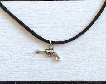black suede choker with gun charm