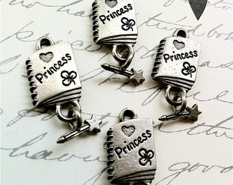 Princess Diary Charms -4 pieces-(Antique Pewter Silver Finish)--style 625--