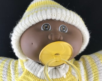 1985 Coleco Cabbage Patch Kid. African American Newborn (SS) Factory. Complete with Pacifier.