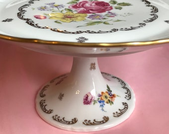 Pretty in Pink-Hand Painted Porcelaine de FranceTiered Cake Plate