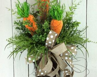 Easter Door Basket, Carrot Wreath, Easter Wreath, Easter Door Hanger, Carrots in Basket, Easter door Basket with carrots, Carrot door hanger