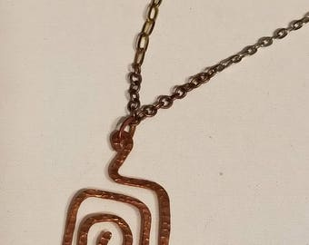 Copper Pendant Necklace, Square Swirl Design, Hammered Copper Pendant,  Mixed Metals Chain, Stainless, Brass and Copper Chain, Recycled