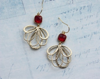 Feather Earrings, Red and Gold Filigree Earrings, Bridesmaids Gift Red Glass Modern Gold Wedding Jewelry, Red Dangle Earrings, Gift for Her