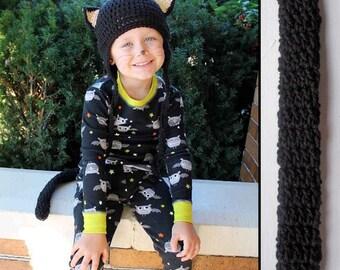 Kids Cat Costume Halloween Crochet Earflap Hat and Tail Set - Childrens Accessories by Julian Bean