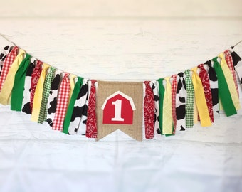 Farm Fabric High Chair Banner - Farm Birthday Decor, Gender Neutral, Fabric Garland, Fabric Bunting