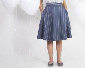 Full circle skirt -High waist skirt -Linen cotton retro skirt -Jeans skirt -Vintage circle skirt - 1950s swing skirt -Retro full skirt