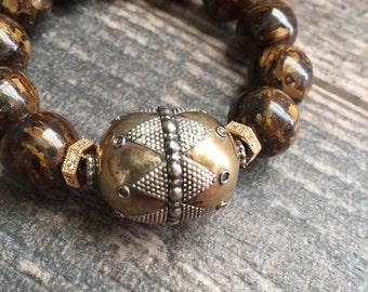 Stone Bracelet Brown,Big Braclet,Chunky Bracelet,Middle Eastern Bracelet,Ethnic Bracelet,Tribal Braclet,Moroccan Bracelet,Tribal Bracelet