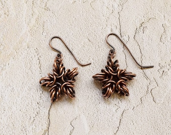 Copper Chainmaille Snowflake Earrings