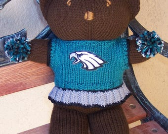 Bear, Philadelphia Eagles, Cheerleader Bear, Baby Girl Bear, Shower Gift, Birthday Gift, Keepsake Bear, Souvenir Bear, Valentines Day