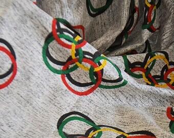 Antique french fabric shintz, 100% coton, 1950s