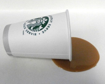 Fake Food spilled starbucks coffee great gag gift