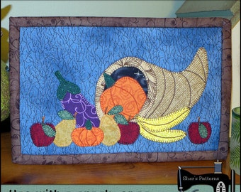 PDF Pattern for Thanksgiving Mug Rug, Cornucopia Mug Rug Pattern, Thanksgiving Mini Quilt Pattern - Sewing Pattern, Tutorial, DIY