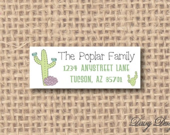 Return Address Labels - Cactus Desert Succulents - Southwest Cacti - 120 self-sticking labels