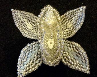 Beaded Ladyflower Pin