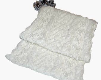 """Infinity Scarf for Women """"Bowen Island"""", handknit in pure fine Angora with cables and bobbles READY TO SHIP"""